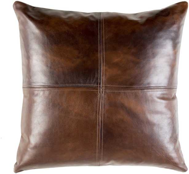 Leather Pillow - Sheffield SFD-001 - 20 x 20 with down insert - Neva Home
