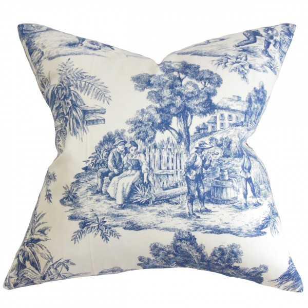"""Evlia Toile Etoile Pillow Blue - 18"""" x 18"""" - Polyester Insert - Linen & Seam"""