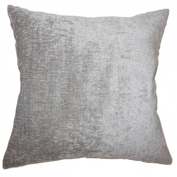 "Gefion Solid Pillow Silver, 20"" x 20"", Polyester Insert - Linen & Seam"