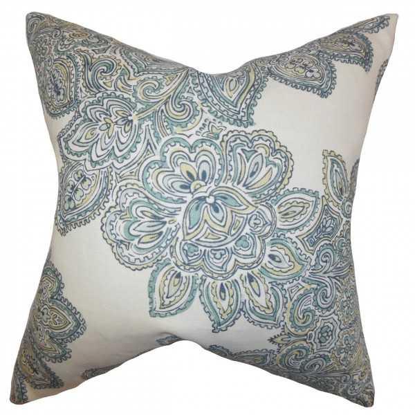 "Haldis Floral Pillow Sea Green- 20"" x 20""- with Insert - Linen & Seam"