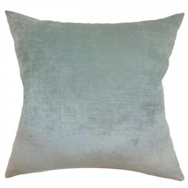"Haye Solid Pillow Aqua - 18"" x 18"" - Polyester Insert - Linen & Seam"