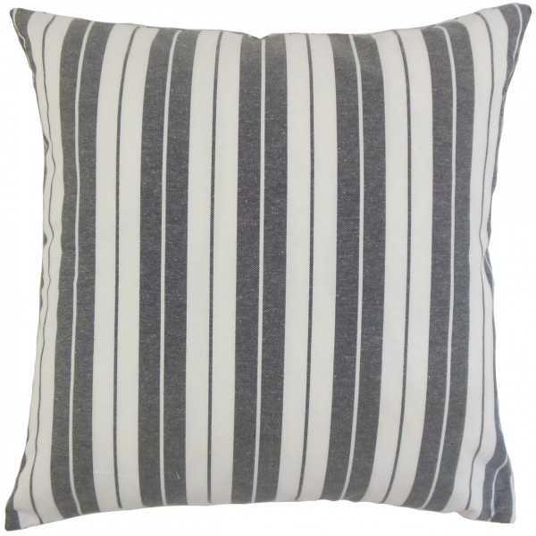 """Henley Stripes Pillow Black - 18"""" x 18"""" - With Insert - Linen & Seam"""