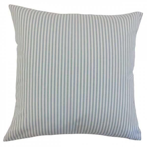"Ira Stripes Pillow Aqua - 20"" - Down insert - Linen & Seam"