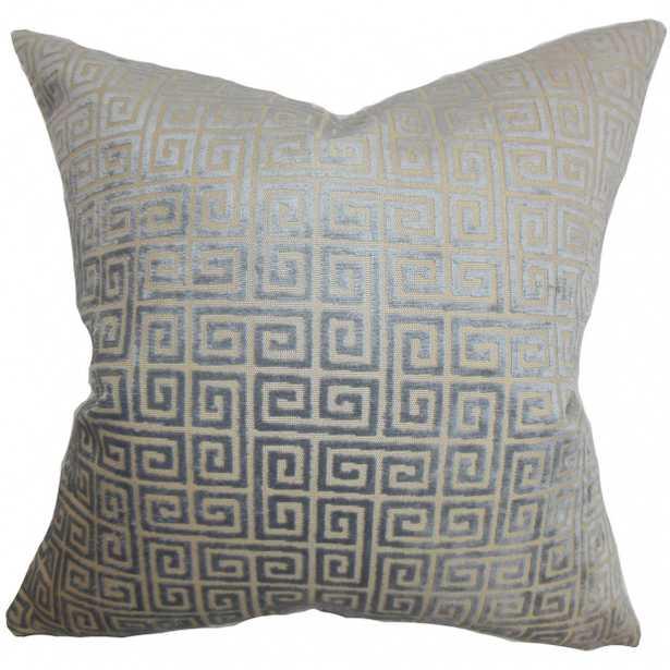 "Leif Geometric Pillow Gray - 22"" x 22"" with Down Insert - Linen & Seam"