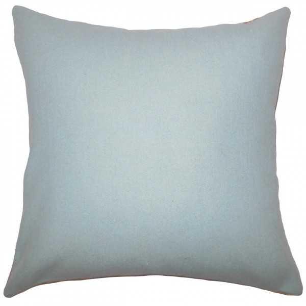 "Yandel Solid Pillow Blue - Euro Sham 26"" x 26"" With insert - Linen & Seam"