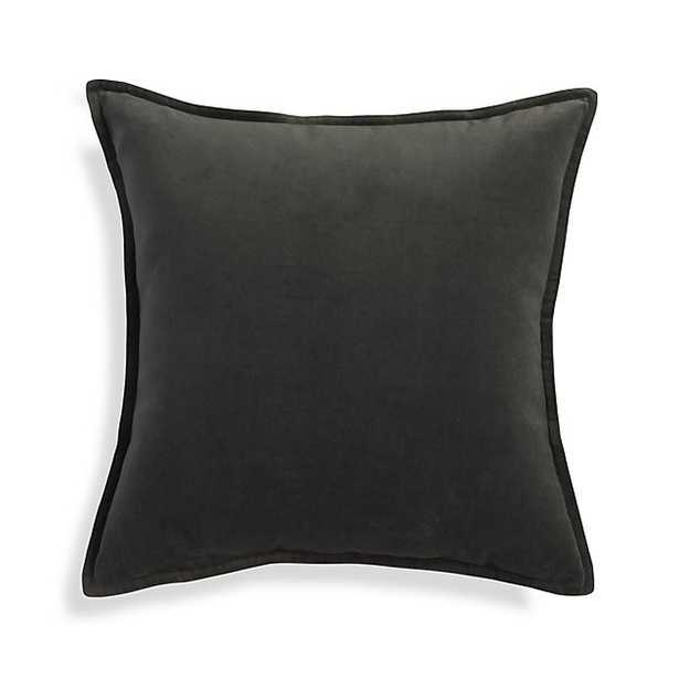 """Brenner Grey 20"""" Velvet Pillow with Feather-Down Insert - Crate and Barrel"""