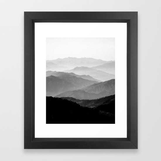 "Mountain Mist - Black and White Collection Art Print - Frame 14""x17""- Print 10"" x 12"" - Scoop Black Frame - Society6"