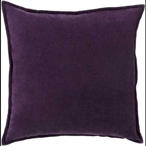 """Cotton Velvet CV - 006 Dark Purple Pillow - 22"""" x 22""""  - Poly Filler - Neva Home"""
