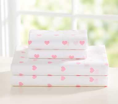 Organic Heart Sheet Set, Twin, Pale Pink - Pottery Barn Kids