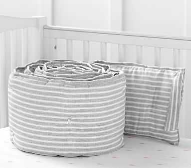 Montauk Belgian Flax Linen Bumper, Gray - Pottery Barn Kids