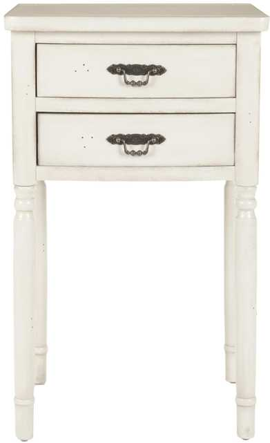 Marilyn End Table with Storage Drawers- White - Arlo Home