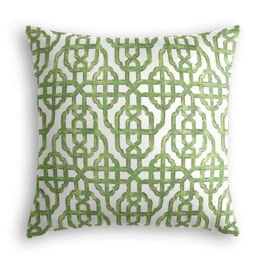 "Trellis Like It Is Meadow Pillow - 18"" Square - Down Insert - Loom Decor"