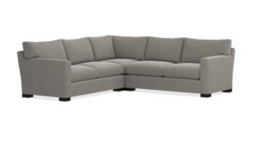 Axis II 3-Piece Sectional Sofa - Douglas, Charcoal/Fossil Leg - Crate and Barrel