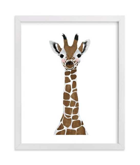 "Baby Animal.Giraffe - 8"" x 10"" - White Wood Frame: Mocha - Minted"