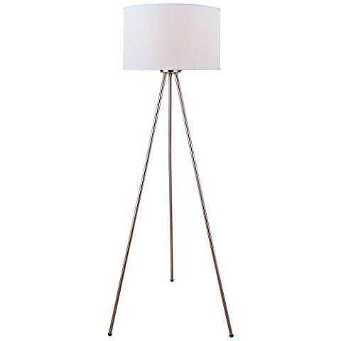 Lite Source Tullio Tripod Polished Steel Floor Lamp white - Lamps Plus