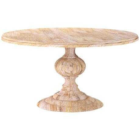 Magnolia Wash Mango Wood Large Round Dining Table white - Lamps Plus