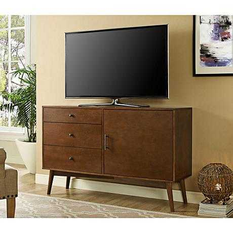 """angelo:HOME Cruise 52"""" Mid-Century Walnut 3-Drawer TV Console - Lamps Plus"""