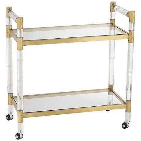 Adele Acrylic and Gold Rectangular Bar Cart clear - Lamps Plus
