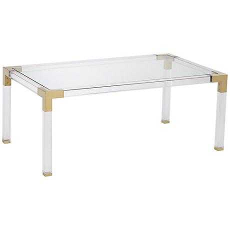 Erica Rectangle Acrylic Coffee Table with Gold Corners clear - Lamps Plus