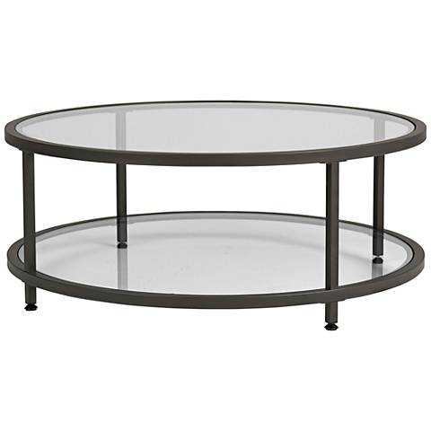 Studio Designs Home Camber Pewter Round Coffee Table clear - Lamps Plus