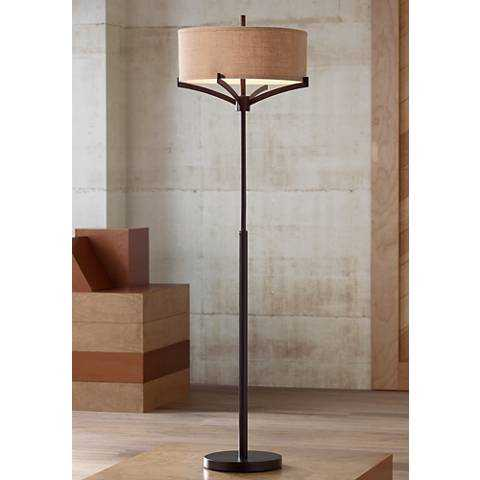 Franklin Iron Works™ Tremont Floor Lamp with Burlap Shade - Lamps Plus