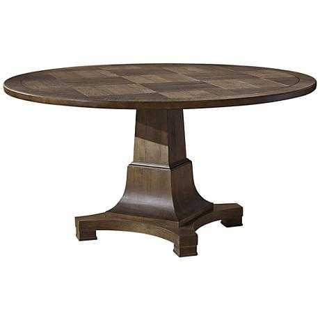 Playlist Eyed Girl Wood Round Dining Table brown - Lamps Plus