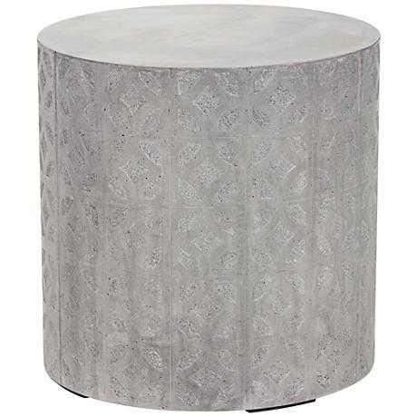 Imani Cement Drum Natural Concrete Indoor-Outdoor Side Table - Lamps Plus