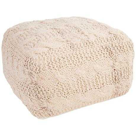 Jaipur Milford White Wool Square Pouf Ottoman ivory - Lamps Plus