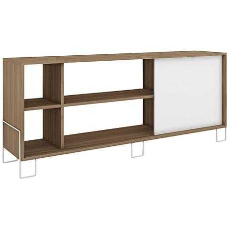 Eye-Catching Nacka 2.0 Oak and 1-Door TV Stand white - Lamps Plus