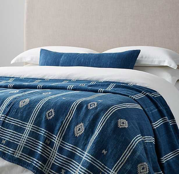 Handcrafted Tribal Linen Oversized Bed Throw - Indigo - RH