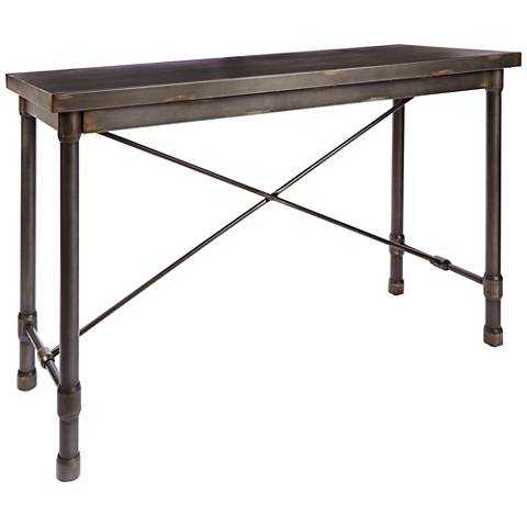 Oxford Industrial Dark Bronze Metal Console Table - Lamps Plus