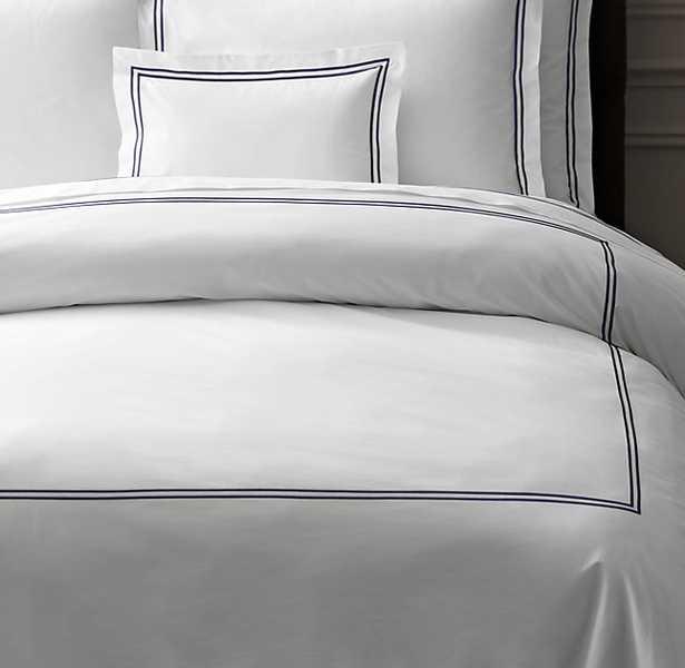 ITALIAN HOTEL SATIN STITCH WHITE DUVET COVER - RH