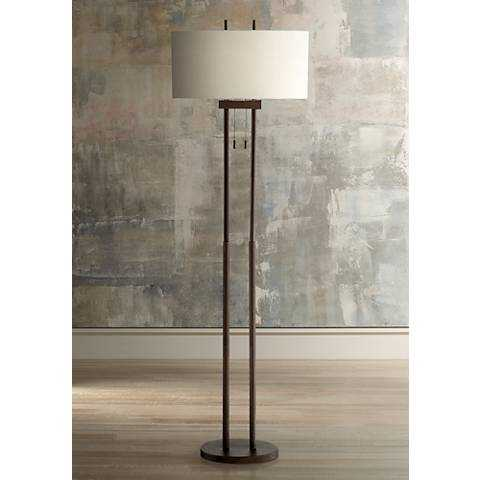 Roscoe Bronze Twin Pole Floor Lamp - Lamps Plus