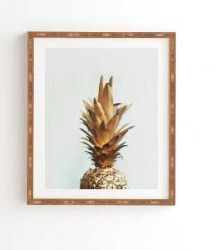 "Gold Pineapple Framed Wall Art, 11""x13"", Bamboo Frame - Wander Print Co."