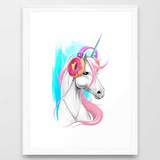 """Unicorn in the Headphones of Donuts - Scoop White Frame - 20"""" x 26"""" - Society6"""