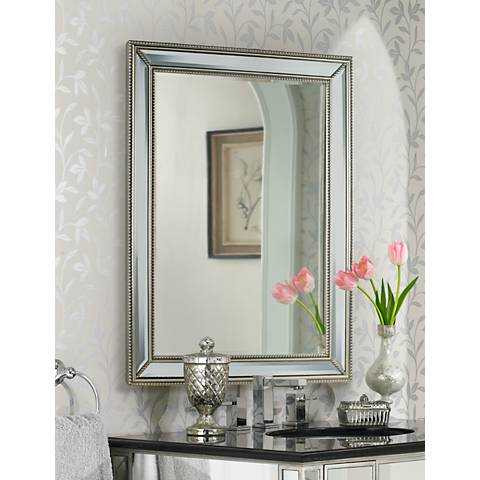 """Uttermost Palais Beaded 30"""" x 40"""" Silver Wall Mirror - Lamps Plus"""
