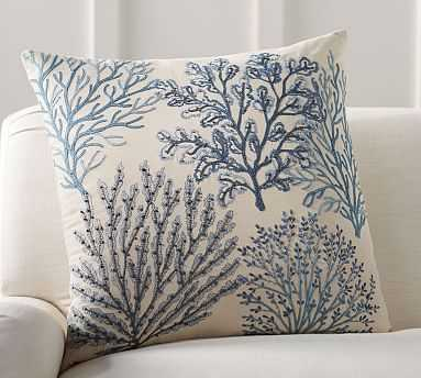 """Layered Coral Pillow Cover, 24"""", Blue - Pottery Barn"""