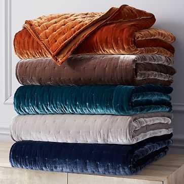 Luxe Velvet Quilt, King, Light Gray - West Elm