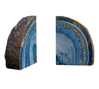 Agate Bookends, Blue - Pottery Barn