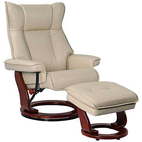 Morgan Stucco Faux Leather Ottoman and Swiveling Recliner - Lamps Plus