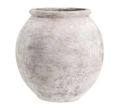 Eclectic Ivory Ceramic Faux Stone Vase, X-Large - Pottery Barn