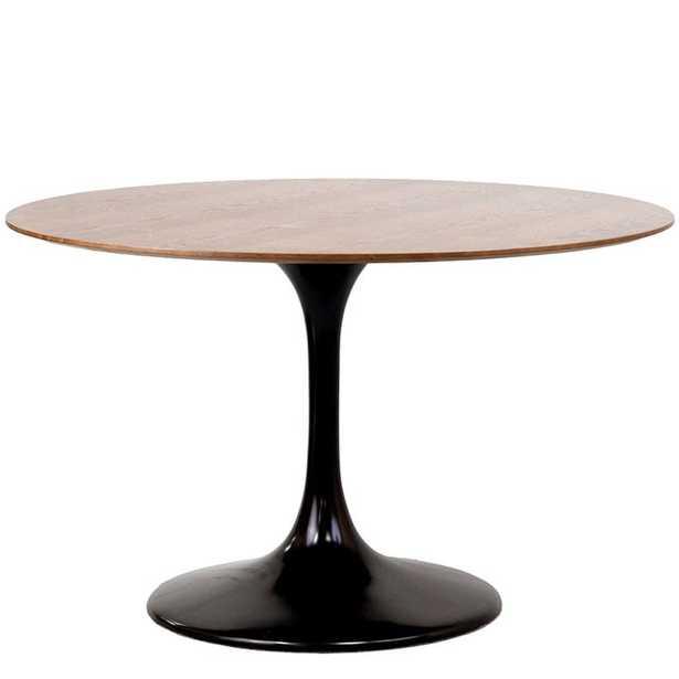 "LIPPA 48"" ROUND WALNUT DINING TABLE IN BLACK - Modway Furniture"