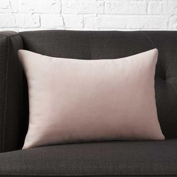 """18""""x12"""" loki blush leather pillow with down-alternative insert"" - CB2"