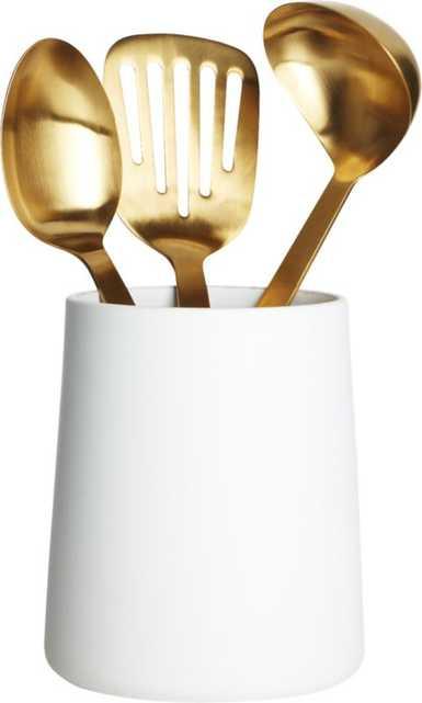 matte white utensil holder - CB2
