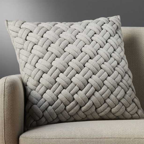 """""""20"""""""" jersey interknit grey pillow with feather-down insert"""" - CB2"""