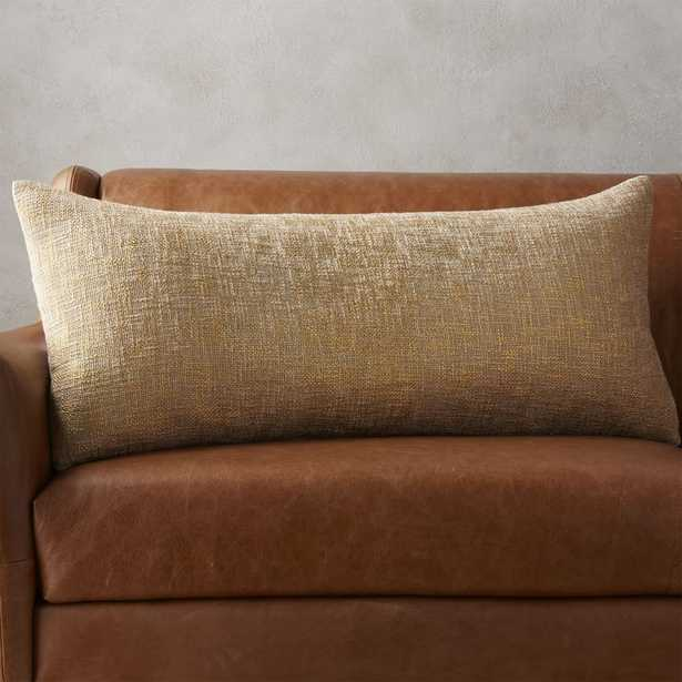 """36""""x16"""" glitterati gold pillow with feather-down insert - CB2"""