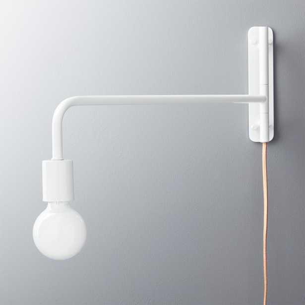 swing arm white wall sconce - CB2