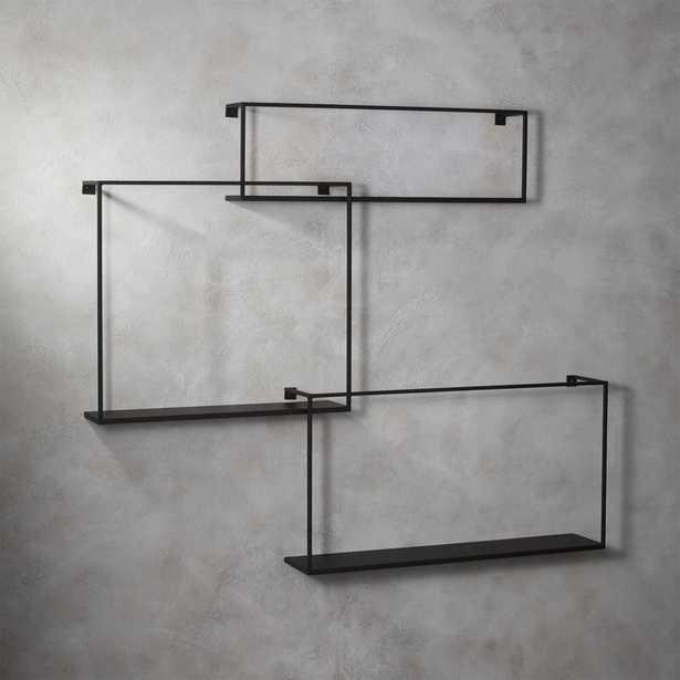 3-piece floating large matte black shelf set - CB2