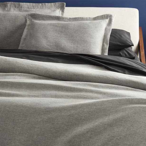 weekendr graphite chambray full/queen duvet cover - CB2