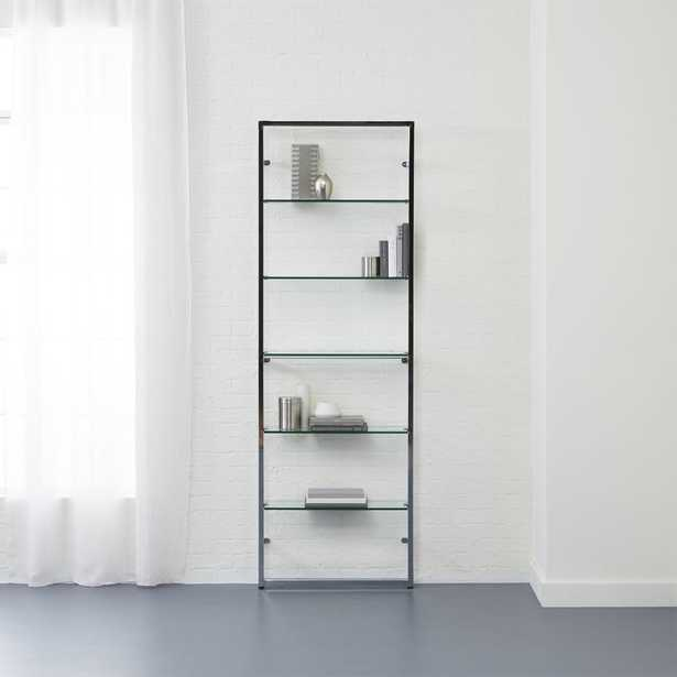 """tesso chrome 84"""" wall mounted bookcase"" - CB2"